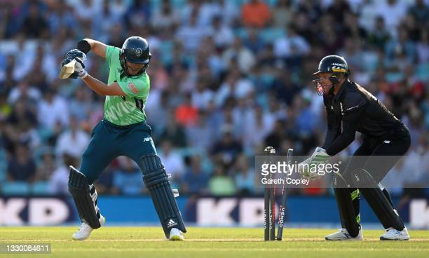 Sam Curran of Oval Invincibles is bowled by Tom Hartley of Manchester Originals during the Hundred match between Oval Invincibles and Manchester...