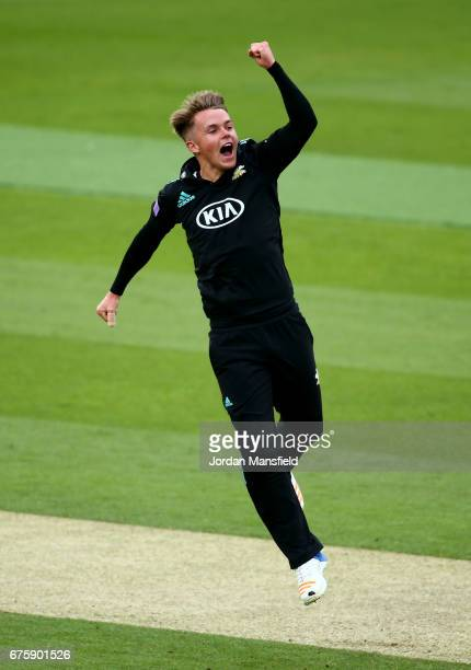 Sam Curran of Surrey celebrates dismissing Alastair Cook of Essex during the Royal London OneDay Cup match between Surrey and Essex at The Kia Oval...