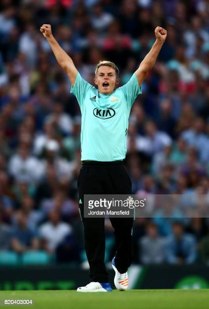 Sam Curran of Surrey celebrates dismissing Dawid Malan of Middlesex during the NatWest T20 Blast Surrey and Middlesex at The Kia Oval on July 21,...