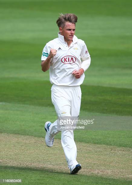 Sam Curran of Surrey celebrates dismissing Grant Stewart of Kent during day three the Specsavers County Championship Division 1 match between Surrey...