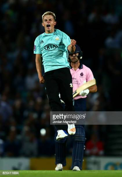 Sam Curran of Surrey celebrates dismissing James Franklin of Middlesex during the NatWest T20 Blast Surrey and Middlesex at The Kia Oval on July 21,...