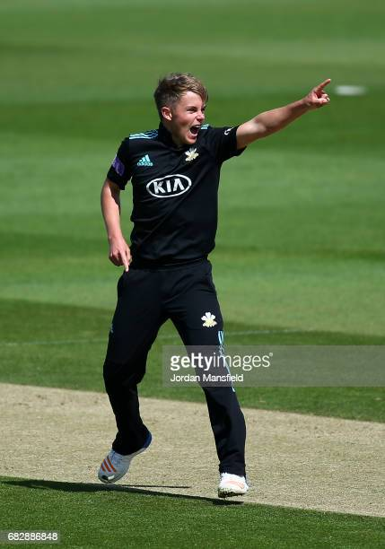 Sam Curran of Surrey celebrates dismissing James Vince of Hampshire during the Royal London OneDay Cup match between Surrey and Hampshire at The Kia...