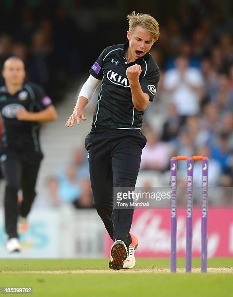Sam Curran of Surrey celebrates taking the wicket of Daniel BellDrummond of Kent during the Royal London OneDay Cup Quarter Final match between...