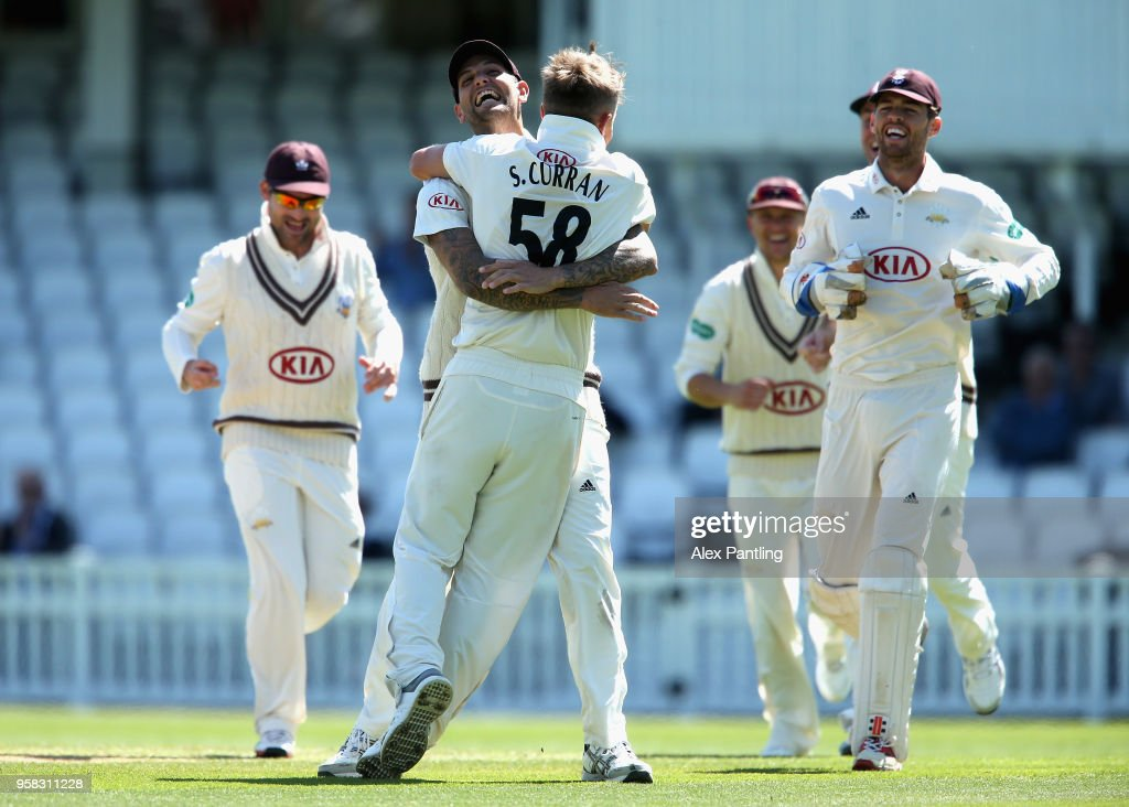 Sam Curran of Surrey celebrates the wicket of Josh Shaw during day four of the Specsavers County Championship Division One match between Surrey and Yorkshire at The Kia Oval on May 14, 2018 in London, England.