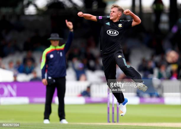 Sam Curran of Surrey celebrates the wicket of Michael Lumb of Nottinghamshire during the Royal London OneDay Cup Final betwen Nottinghamshire and...