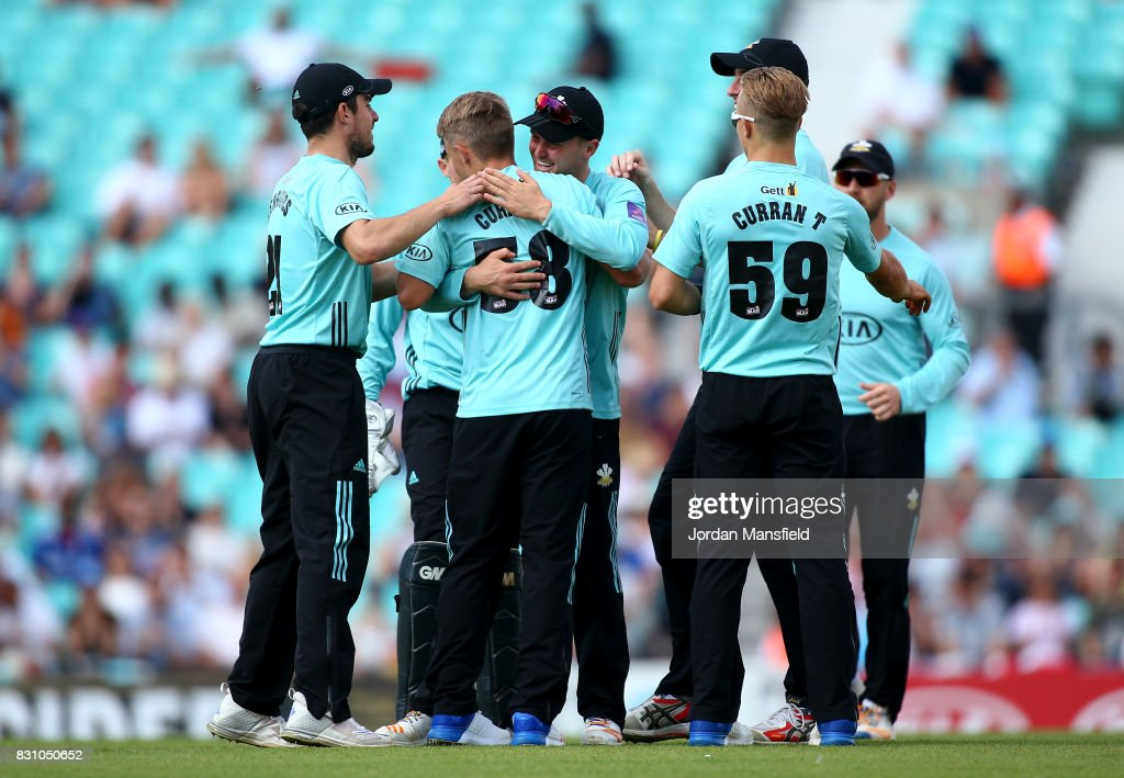 Sam Curran of Surrey celebrates with his teammates after bowling out Luke Wright of Sussex during the NatWest T20 Blast match between Surrey and Sussex Shark at The Kia Oval on August 13, 2017 in London, England.