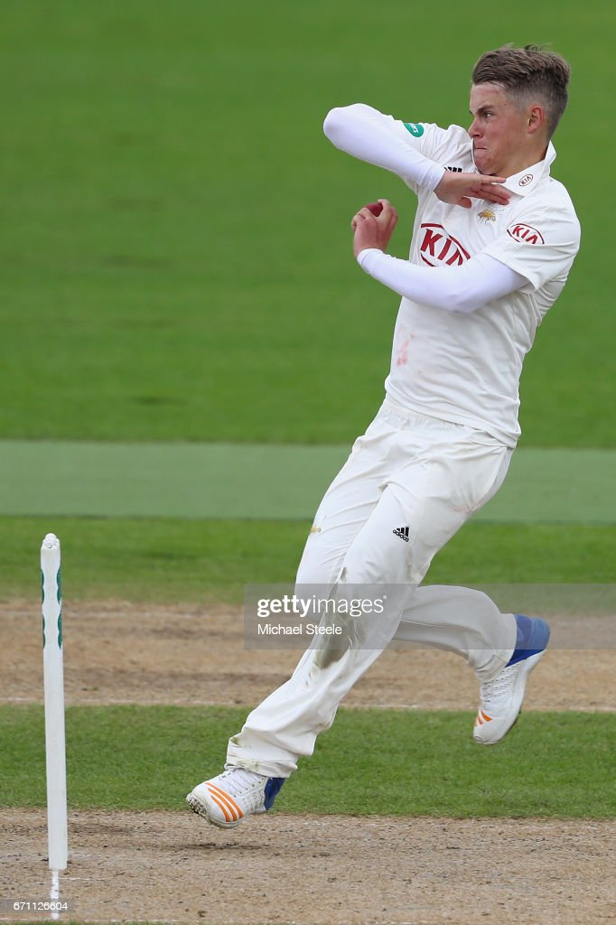 Sam Curran of Surrey during day one of the Specsavers County Championship Division One match between Warwickshire and Surrey at Edgbaston on April 21, 2017 in Birmingham, England.