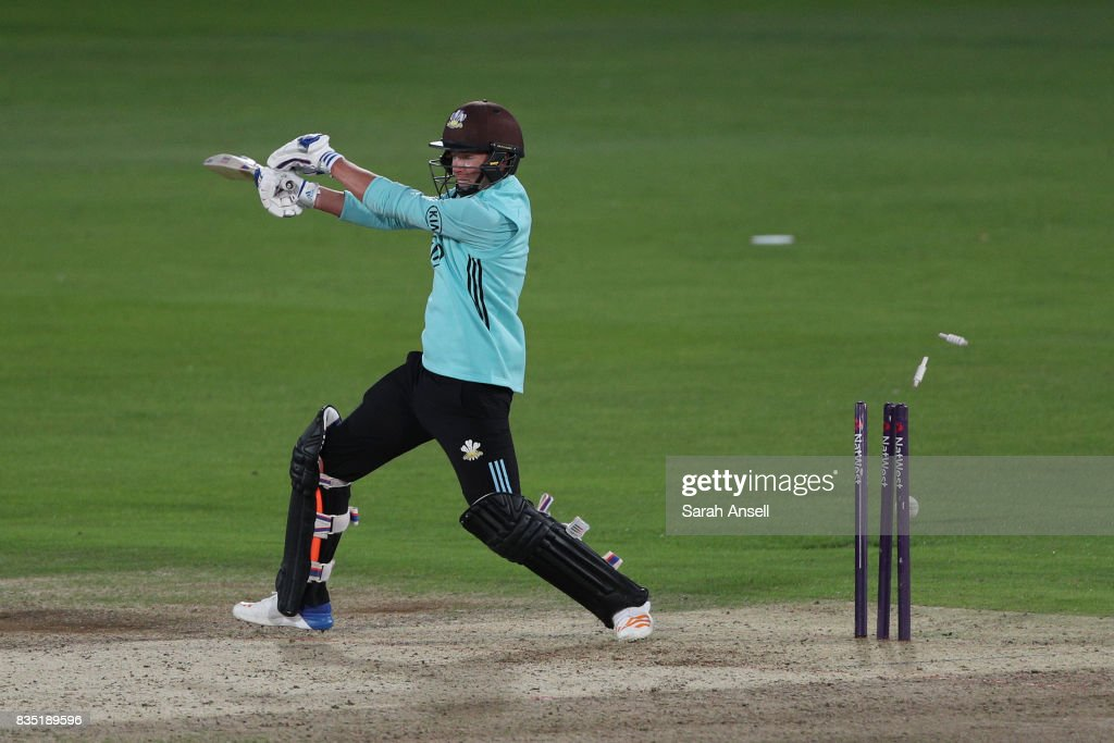 Sam Curran of Surrey is bowled by Adam Milne of Kent Spitfires during the NatWest T20 Blast South Group match between Kent Spitfires and Surrey at The Spitfire Ground on August 18, 2017 in Canterbury, England. (Photo by Sarah Ansell/Getty Images).