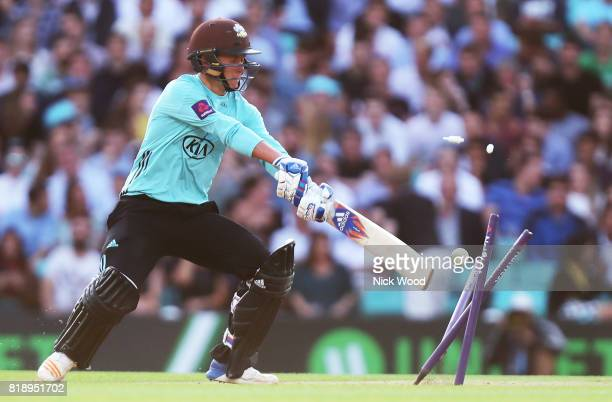Sam Curran of Surrey is bowled by Paul Walter during the Surrey v Essex - NatWest T20 Blast cricket match at the Kia Oval on July 19, 2017 in London,...