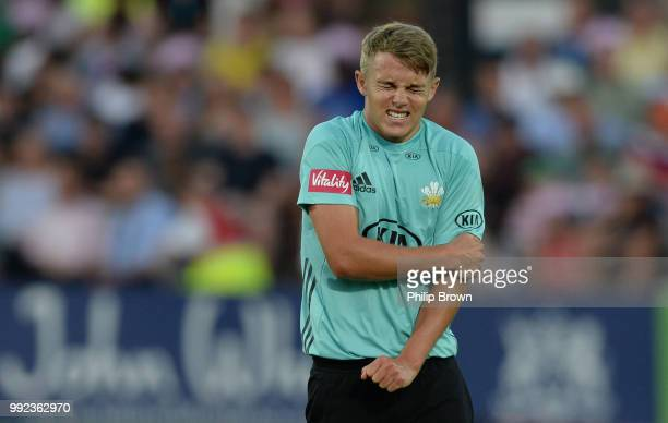 Sam Curran of Surrey reacts during the Vitality T20 Blast match between Middlesex and Surrey at Lord's Cricket Ground on July 5 2018 in London England
