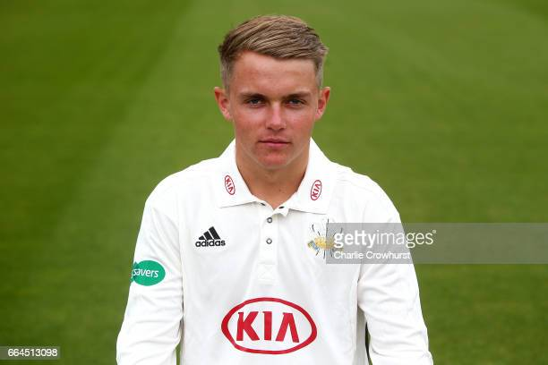 Sam Curran poses in the Specsavers County Championship kit during the Surrey CCC Photocall at The Kia Oval on April 4 2017 in London England