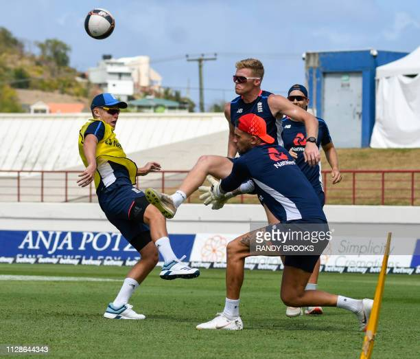 Sam Curran Sam Billings and Alex Hales of England take part in a training session one day ahead of the 1st T20I between West Indies England at Darren...