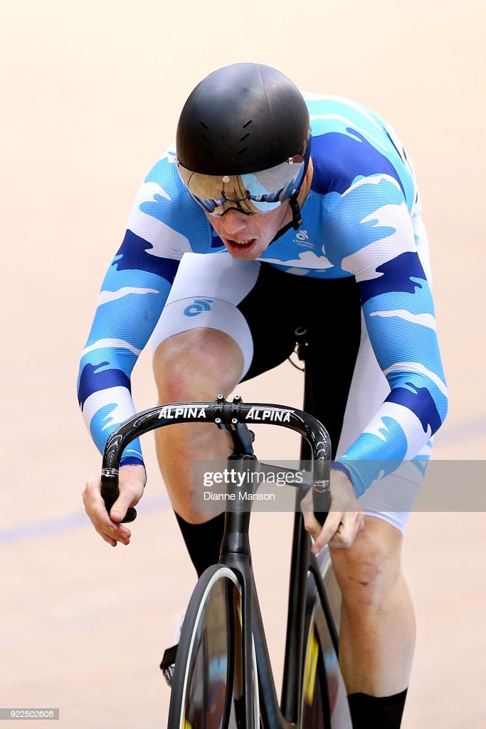 Sam Dakin of Auckland competes in the Elite Men Sprint during the New Zealand Track Cycling Championships on February 22, 2018 in Invercargill, New Zealand.