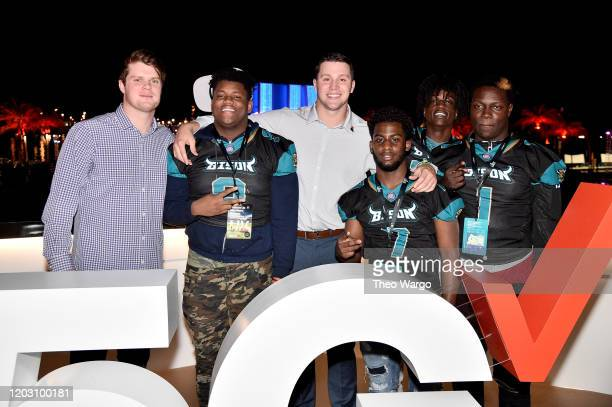Sam Darnold Josh Allen and guests attend Twitch Rivals Streamer Bowl After Party at Verizon 5G Stadium at Super Bowl LIVE on January 30 2020 in Miami...