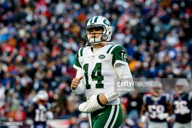 Sam Darnold of of the New York Jets reacts during the fourth quarter of a game against the New England Patriots at Gillette Stadium on December 30,...