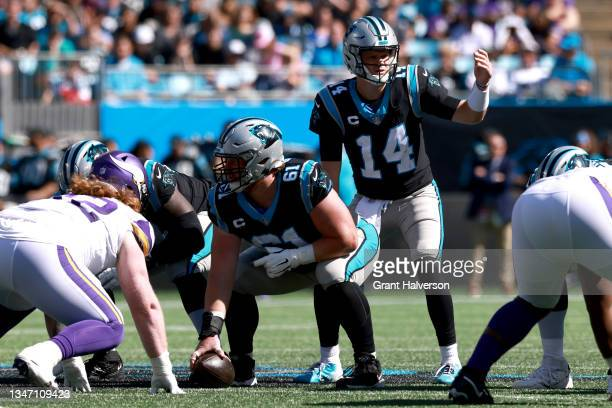 Sam Darnold of the Carolina Panthers calls out the play during the second quarter against the Minnesota Vikings at Bank of America Stadium on October...