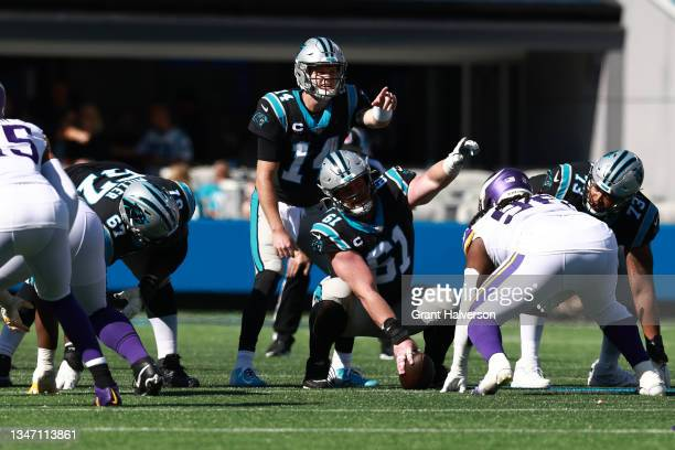 Sam Darnold of the Carolina Panthers calls out the play during the third quarter against the Minnesota Vikings at Bank of America Stadium on October...