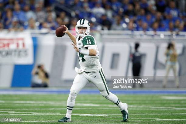 Sam Darnold of the New York Jets drops back for a pass in the first quarter against the Detroit Lions at Ford Field on September 10 2018 in Detroit...