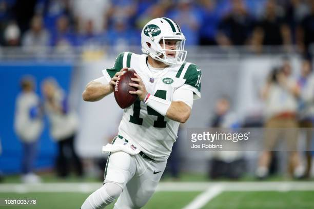 Sam Darnold of the New York Jets drops back to pass in the first quarter against the Detroit Lions at Ford Field on September 10 2018 in Detroit...
