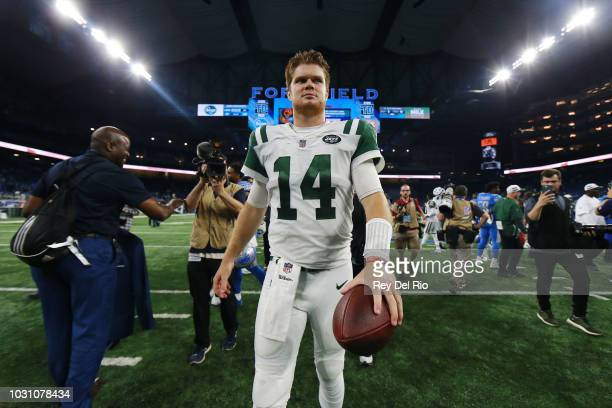Sam Darnold of the New York Jets exits the field after the game against the Detroit Lions at Ford Field The Jets won 48 to 17 on September 10 2018 in...