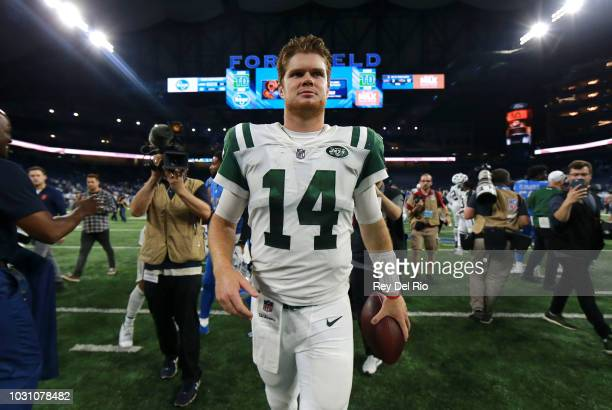 Sam Darnold of the New York Jets exits the field after the game against the Detroit Lions at Ford Field. The Jets won 48 to 17 on September 10, 2018...