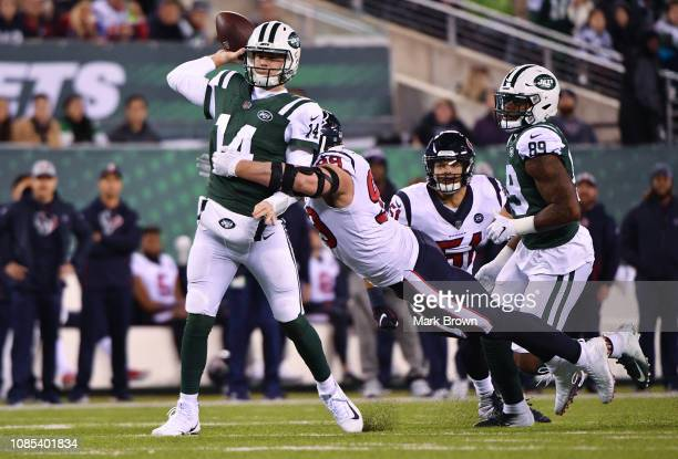 Sam Darnold of the New York Jets in action against the Houston Texans at MetLife Stadium on December 15 2018 in East Rutherford New Jersey