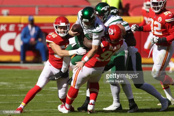 Sam Darnold of the New York Jets is sacked by Tershawn Wharton of the Kansas City Chiefs during their NFL game at Arrowhead Stadium on November 01,...