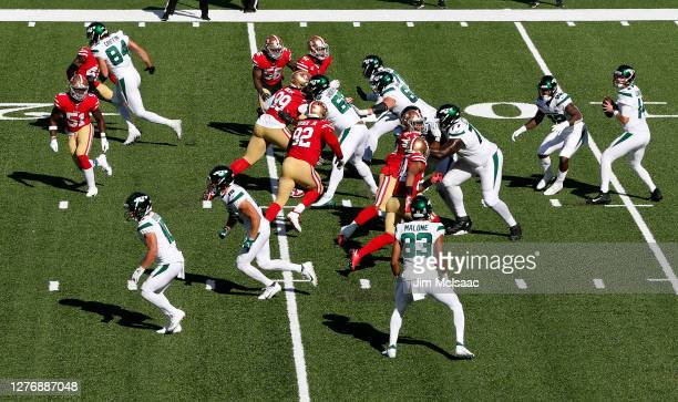 Sam Darnold of the New York Jets looks to make a play against the San Francisco 49ers at MetLife Stadium on September 20 2020 in East Rutherford New...