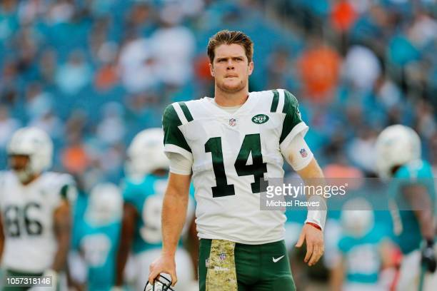 Sam Darnold of the New York Jets reacts in the fourth quarter of their game against the Miami Dolphins at Hard Rock Stadium on November 4, 2018 in...