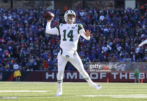 Sam Darnold of the New York Jets throws in the second quarter during NFL game action against the Buffalo Bills at New Era Field on December 9, 2018...
