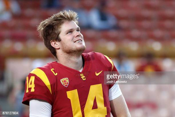 Sam Darnold of the USC Trojans is seen before the the NCAA college football game against the UCLA Bruins at the Los Angeles Memorial Coliseum on...