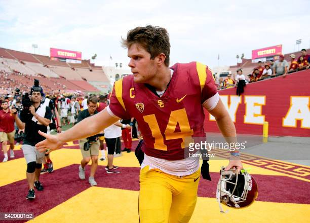 Sam Darnold of the USC Trojans leaves the field after a 4931 win over the Western Michigan Broncos at Los Angeles Memorial Coliseum on September 2...