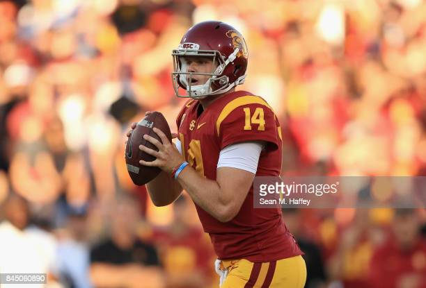 Sam Darnold of the USC Trojans looks to pass during the first half against the Stanford Cardinal at Los Angeles Memorial Coliseum on September 9 2017...