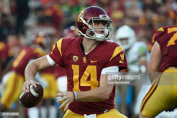 Sam Darnold of the USC Trojans looks to pass the ball against the Oregon Ducks at Los Angeles Memorial Coliseum on November 5 2016 in Los Angeles...