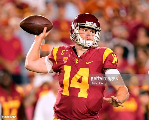 Sam Darnold of the USC Trojans makes a pass during the fourth quarter against the Texas Longhorns at Los Angeles Memorial Coliseum on September 16...