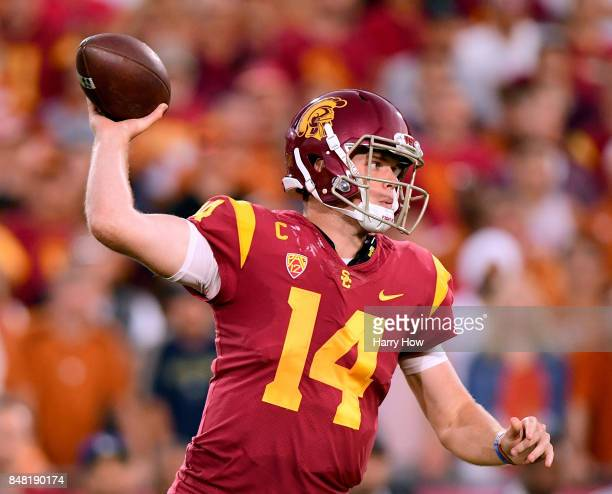 Sam Darnold of the USC Trojans makes a pass during the second quarter against the Texas Longhorns at Los Angeles Memorial Coliseum on September 16...