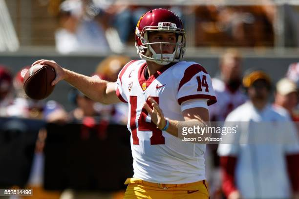Sam Darnold of the USC Trojans passes against the California Golden Bears during the first quarter at California Memorial Stadium on September 23...