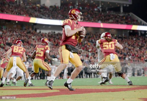 Sam Darnold of the USC Trojans plays in the Pac12 Championship game against the Stanford Cardinal on December 1 2017 at Levi's Stadium in Santa Clara...