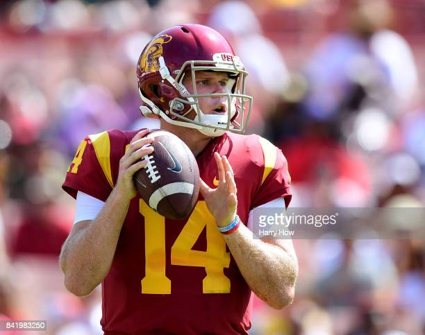 Sam Darnold of the USC Trojans prepares to pass in the pocket during the game against the Western Michigan Broncos at Los Angeles Memorial Coliseum...