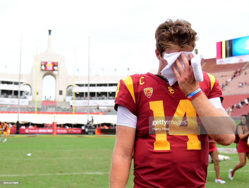 Sam Darnold #14 of the USC Trojans reacts after a 49-31 Trojan win over the Western Michigan Broncos at Los Angeles Memorial Coliseum on September 2, 2017 in Los Angeles, California.