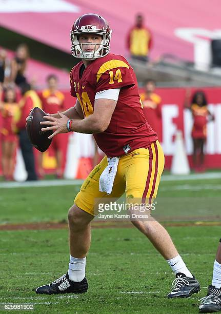 Sam Darnold of the USC Trojans sets to pass in the first half of the game against the Notre Dame Fighting Irish at the Los Angeles Memorial Coliseum...