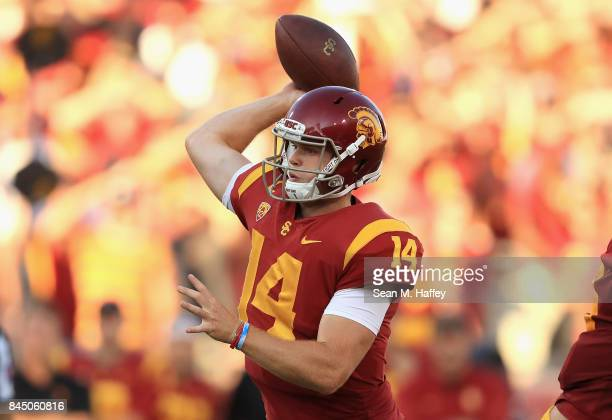 Sam Darnold of the USC Trojans throws a pass during the first half against the Stanford Cardinal at Los Angeles Memorial Coliseum on September 9 2017...