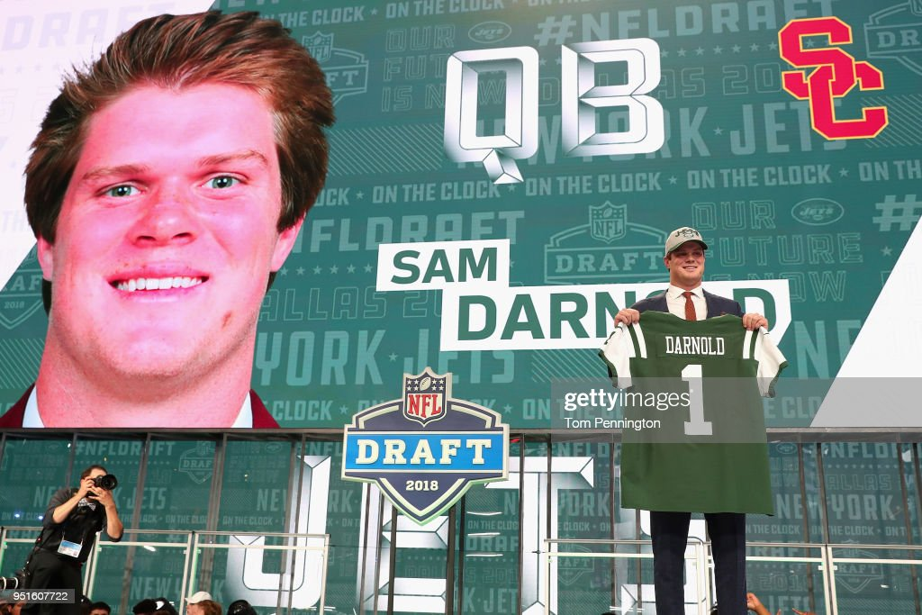 Sam Darnold of USC poses after being picked #3 overall by the New York Jets during the first round of the 2018 NFL Draft at AT&T Stadium on April 26, 2018 in Arlington, Texas.