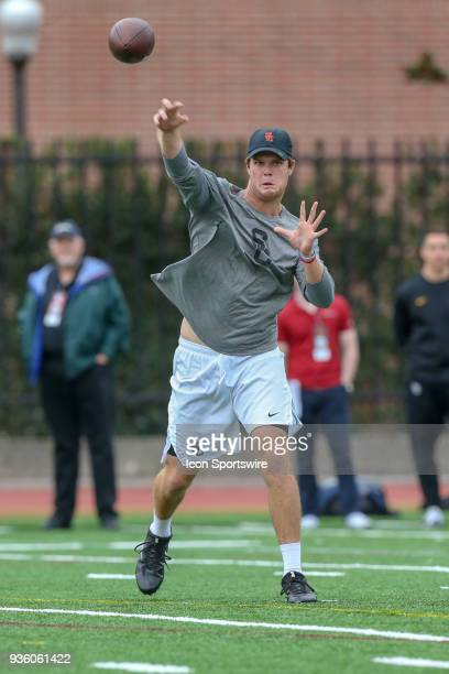 Sam Darnold performs drills in front of NFL scouts during USC Trojans Pro day on March 21 at Loker Stadium in Los Angeles CA