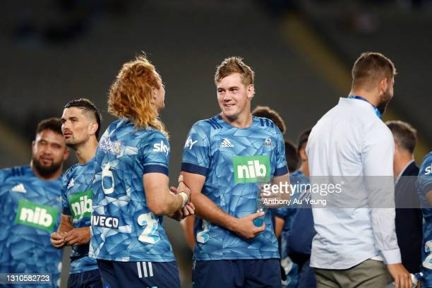 Sam Darry and Tom Robinson of the Blues acknowledge each know after winning the round 6 Super Rugby Aotearoa match between the Blues and the...