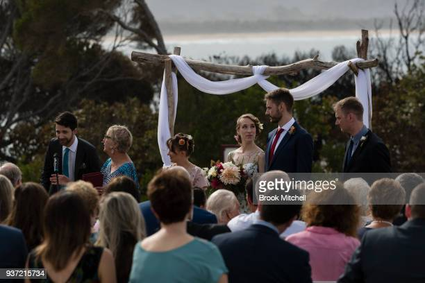 Sam Dawson and David Hutchinson tie the knot on Tathra headland on March 24 2018 in Tathra Australia 6 months in the planning the couple only decided...
