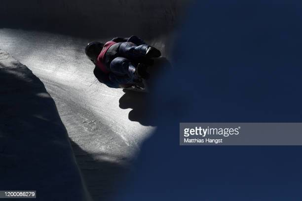 Sam Day and Sam Eckerts of USA competesin Men's Doubles Competition first run in luge during day 8 of the Lausanne 2020 Winter Youth Olympics at St...