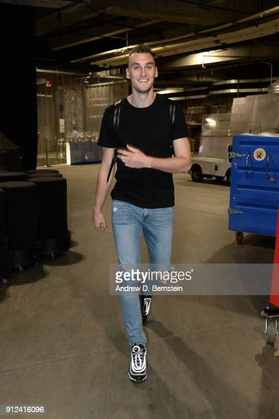 Sam Dekker of the LA Clippers arrives at the stadium before the game against the Portland Trail Blazers on January 30 2018 at STAPLES Center in Los...