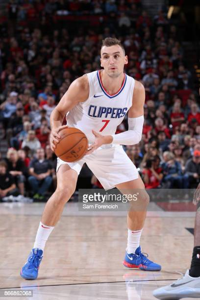 Sam Dekker of the LA Clippers handles the ball against the Portland Trail Blazers on October 26 2017 at the Moda Center in Portland Oregon NOTE TO...