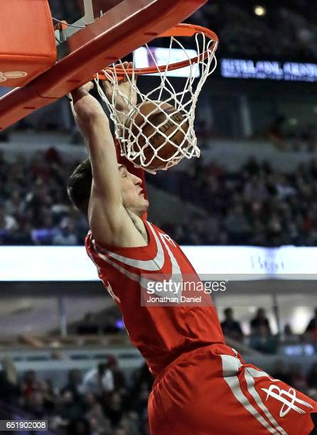 Sam Dekker of the Houston Rockets dunks against the Chicago Bulls at the United Center on March 10 2017 in Chicago Illinois NOTE TO USER User...